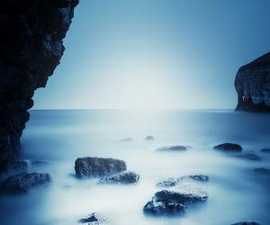 blue, fog, and landscape image