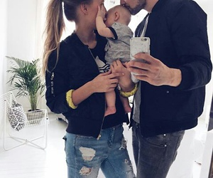 baby, family, and kissing image