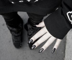black, dark, and nails image