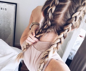 braids, hair, and woman image