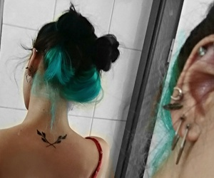 blue hair, small tattoo, and hipster image