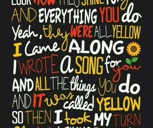 coldplay, yellow, and Lyrics image