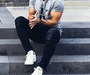 beard, jeans, and men image