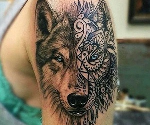 beautiful, wolf, and ink image