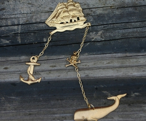 anchor, gold, and necklace image
