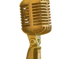 gold, transparent, and microphone image
