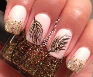 nails, feather, and gold image
