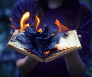 book, fire, and grunge image