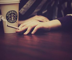 starbucks, coffee, and cigarette image