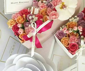 bouquet, flowers, and happy birthday image
