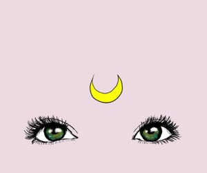 eyes, moon, and pink image