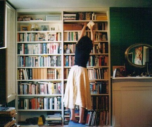 books, girl, and vintage image