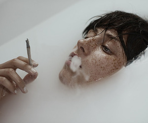 art, cigarette, and freckles image