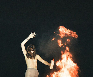 fire, girl, and night image