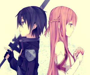 asuna, kirito, and sword art online image