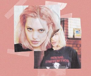 Angelina Jolie, pink, and grunge image
