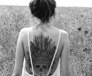 tattoo, girl, and skull image