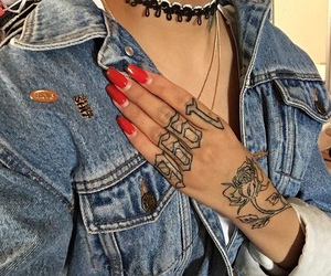 tattoo, nails, and denim image