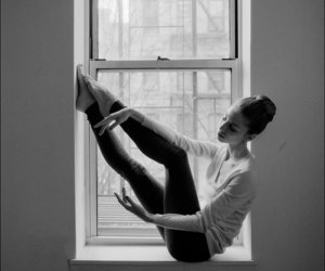 ballet, gir, and black and white image