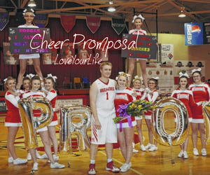 red, senior prom, and cheer promposal image
