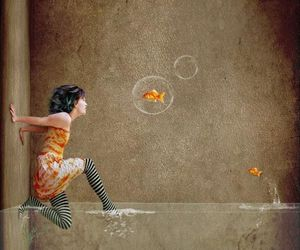 water, art, and goldfish image