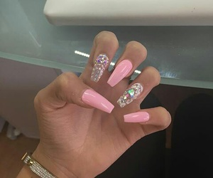 nails, pink, and rhinestones image