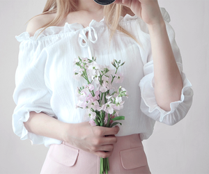 girl, flowers, and pink image