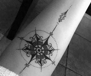 black and white, compass, and ink image