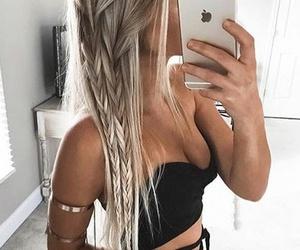 hair, braid, and iphone image