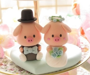 wedding, cute, and pig image