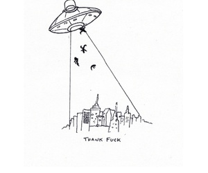 alien, ufo, and b&w image