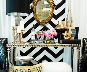 home, decor, and gold image