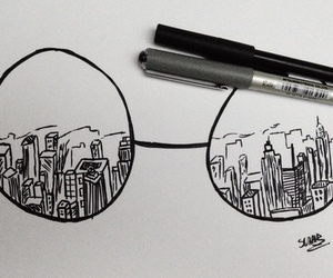drawing, glasses, and art image