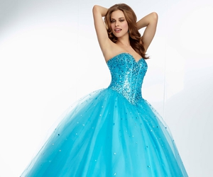 ball gown, blue dress, and strapless dress image
