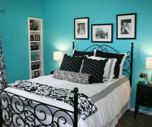 bedroom, black and white, and wrought iron image