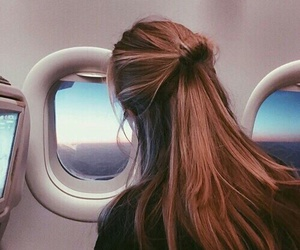 hair, travel, and airplane image