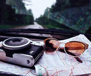 maps, polaroid, and Road Trip image