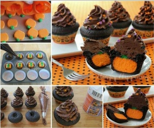 chocolate, cupcakes, and pumpkin image