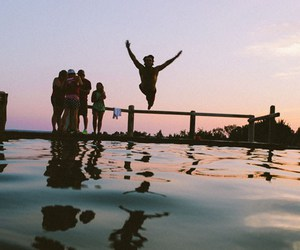 fun, lake, and swimming image