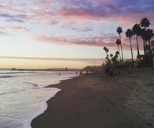 beach, california, and sunset image