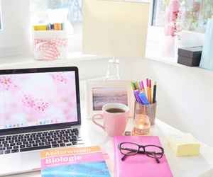 study, pink, and room image
