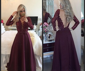burgundy, long dress, and Prom image