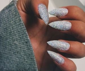 nails, glitter, and silver image