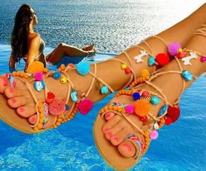 summer and pom pom sandals image