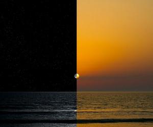 moon, sunset, and sun image
