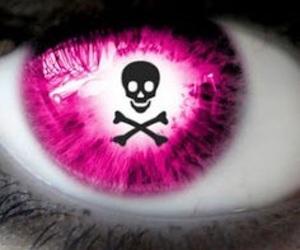 eye, pink, and skull image