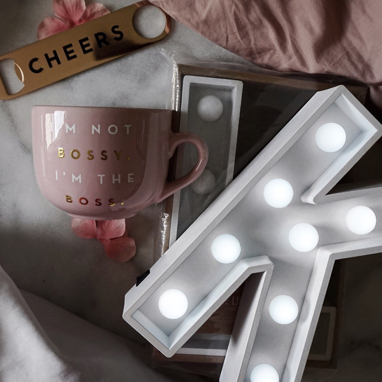 blush, coffee, and gold image