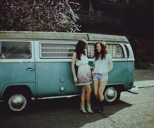 girl, car, and vintage image