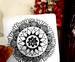 art, blackandwhite, and zentangle image
