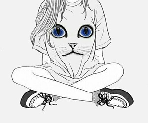 girl, cat, and draw image
